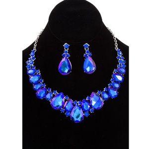 Sapphire Necklace Set Earring Teardrop Gem Stone